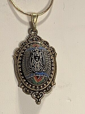 NEW *ANTIQUE EGYPTIAN REVIVAL 1920's DOMED GLASS PHARAOH NECKLACE W/18KGF CHAIN