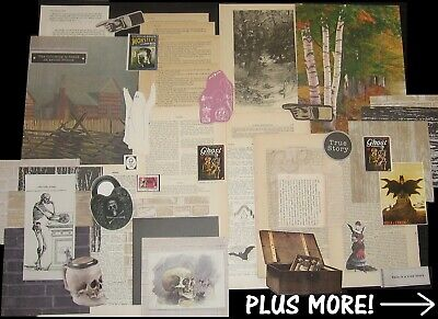 Vtg SKELETON GHOST DEVIL HUNT Halloween Collage Scrap Art Paper Pack Craft Lot!