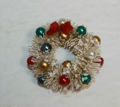 Vintage Bottle Brush Mini White Christmas Wreath With Bow & Ornaments Dollhouse