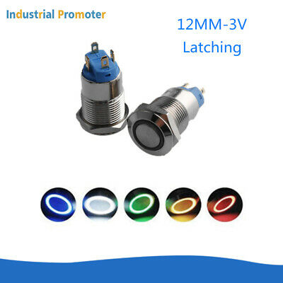 2/4PCS 12mm 3V Latching 4Pin LED Light Power Metal Push Waterproof Button Switch