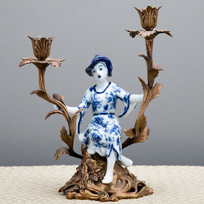 Oriental Chinoiserie Candlestick Candle Holder Porcelain Ormolu  Blue Girl White