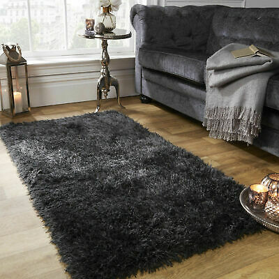 Large Shaggy Floor Rug Plain Soft Sparkle Area Mat Thick Pile Glitter Foldab Rug