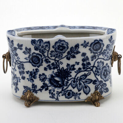 Oriental Chinese Blue And White Porcelain Floral Oval Planter W/ Bronze Ormolu