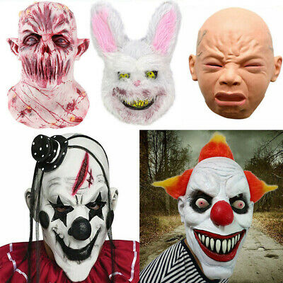 Bloody Zombie Clown Scary Mask Melting Face Latex Costume Halloween Party Prop