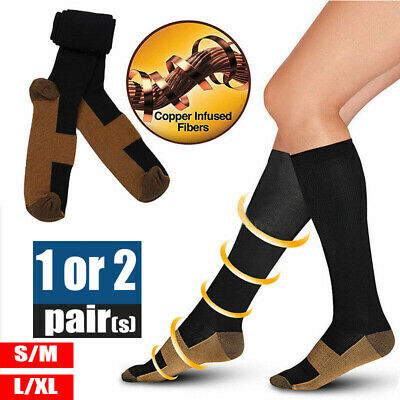 1/2Pairs Miracle Copper Compression Socks Anti Fatigue Travel DVT Comfort AU