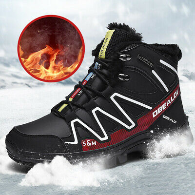 Men's Snow Boots Anti-skid Warm Fur-Lined Hiking Shoes Winter Outdoor Sneakers