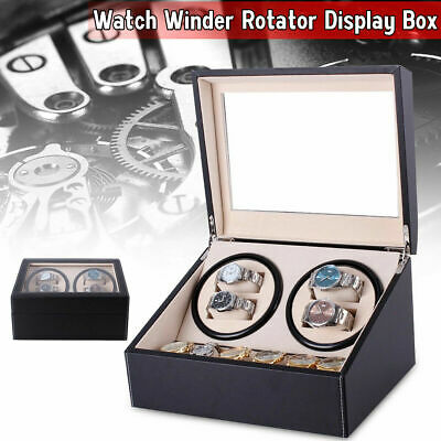 4+6 Automatic Rotation Leather Wood Black Watch Winder Storage Display Case Box