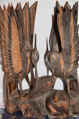Ebony Wood Asian sculpture vintage carving Birds fishing feeding chic carved