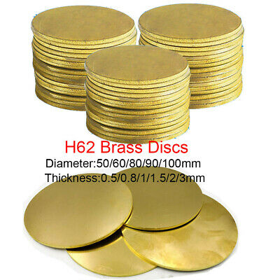H62 Brass Discs Round Sheet  Thick 0.5 0.8 1- 3mm Metal Solid Blanks OD 50-100mm