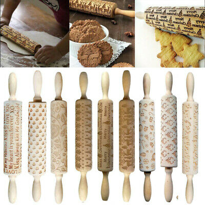 Christmas Elk Wooden Rolling Pin Carved Wood Embossing Biscuits Baking Cookies