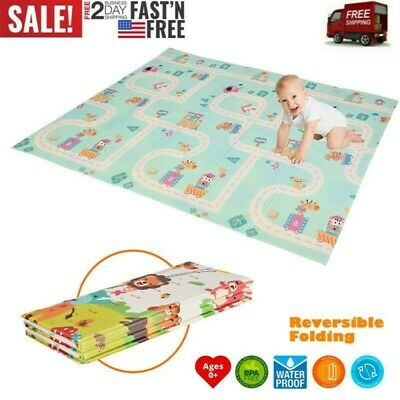 Foldable Play Mat Large Folding Reversible Baby Soft Crawling Mats For Playroom