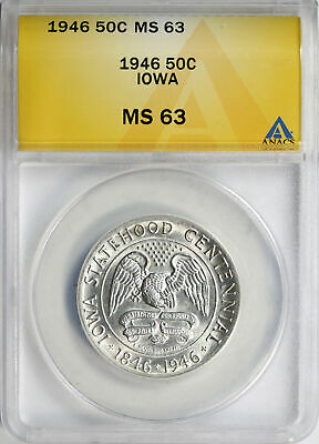 1946 Iowa 50c Commemorative Half Dollar ANACS MS63