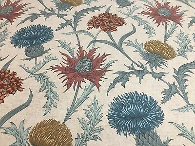 Thistles Soft Teal/Terracotta Foral Cotton 140cm wide Curtain/Craft Fabric