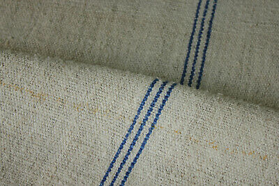 Antique Grain Sack Medium Blue Stripe hemp organic fabric patched vintage bag