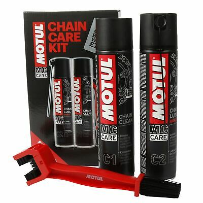 Motul Chain Care Cleaning / Cleaner Lube + Brush Kit For Motorcycle Motorbike