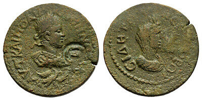 FORVM VF Gallienus Side Pamphylia 253-260 AD AE30 Bust of Tyche Reverse Scarce