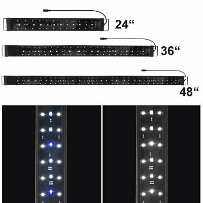 "LED Aquarium Light 24""-48"" Fish Tank Plant Marine FOWLR 0.5W Blue & White"