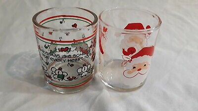 Lot Of Two Christmas Holiday Santa Shot Glasses Candle Holders Knick Knacks