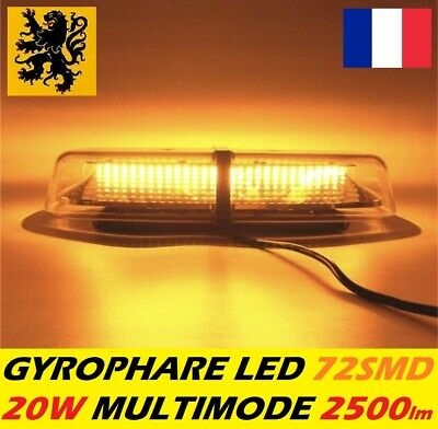 GYROPHARE 🚨 LED PL-G2X 20W ⚠️ 72SMD 12/24V MULTIMODE FLASH AIMANT 2500lm AMBRE