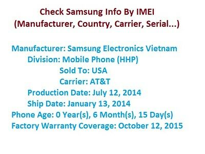 SAMSUNG FULL IMEI INFO CHECK (manufacturer country carrier)- Fast (1-10 minutes)