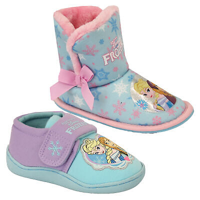 Girls Disney Shoes Frozen Snowflake Kids ANNA ELSA Slippers Casual Ankle Ski Fur