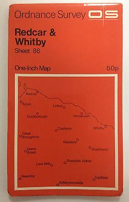 Vintage Ordnance Survey Map of Redcar & Whitby sheet 86 dated 1971