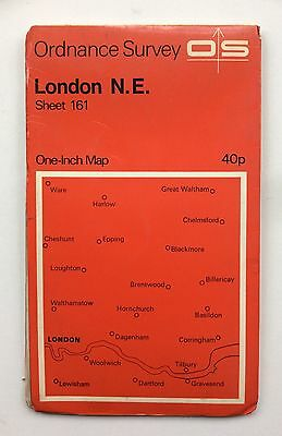 Vintage Ordnance Survey  Map No.161 London N.E. One Inch Series Dated 1970