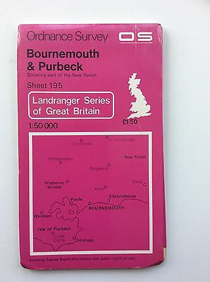 Vintage Ordnance Survey Map No.195 Bournemouth & Purbeck 1:50,000 dated 1979