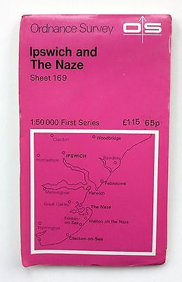 Vintage Ordnance Survey Map No.169 Ipswich And The Naze 1:50,000 dated 1974