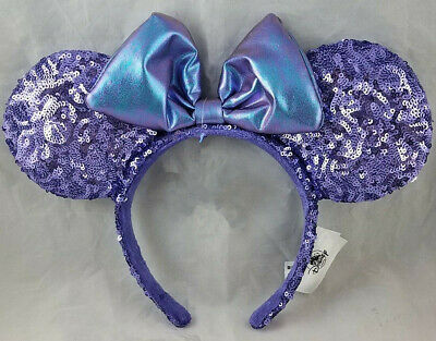 Disney Parks PURPLE POTION Sequin Mickey Minnie Mouse Ears Headband - NEW