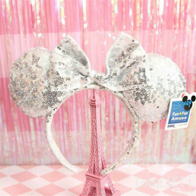 New Disney Parks Minnie Mouse Ears Silvery Sequins Plush Mickey Headband