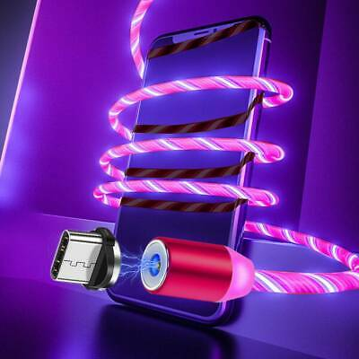 Magnetic Flowing Light LED Fast Charging Micro USB C Type-C Phone Charger Cables