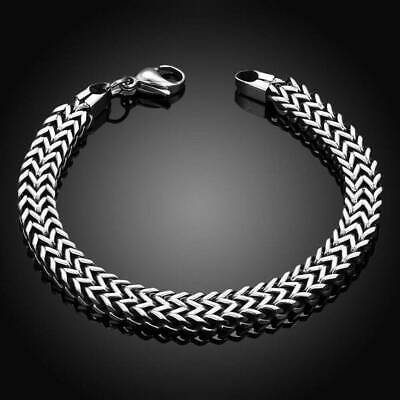 Men's  Punk Stainless Steel Silver Chain Link Bracelet Wristband Bangle Jewelry