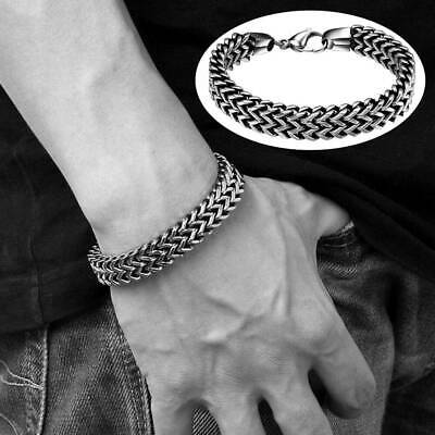 Cool Men Boy Stainless Steel Chain Link Bracelet Wristband Cuff Bangle Jewelry