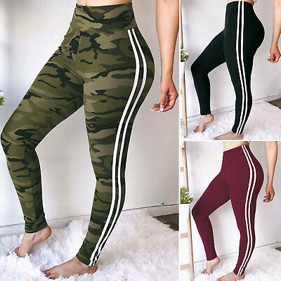 Women's Sports Yoga Striped Camo High Waist Workout Gym Leggings Pants Athletic