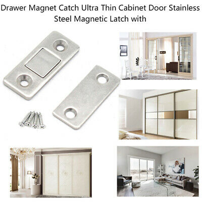 Drawer Magnet Catch Ultra Thin Cabinet Door Stainless Steel Magnetic Latch&Screw