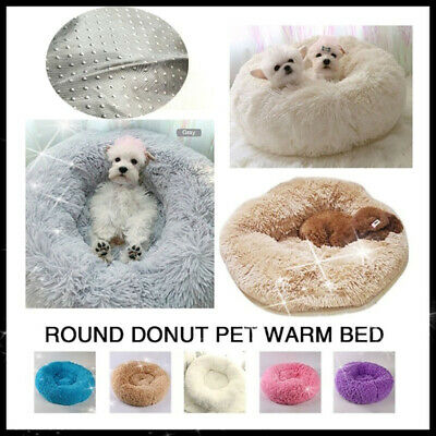 Pet Dog Cat Calming Bed Warm Plush Round Nest Comfy Kennel Cave Comfortable Soft