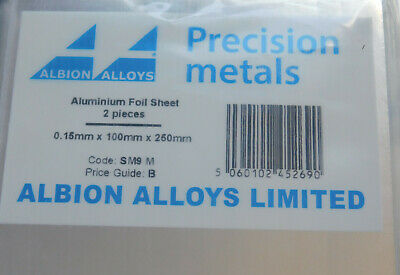Ref SM1M 100 mm x 250 mm 2 Pack Albion Alloys Brass Sheet 0.12mm