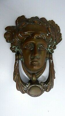 Antique Victorian Heavy Brass Roman Lady Head Door Knocker
