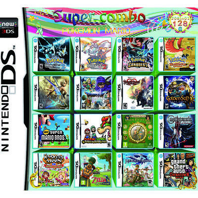 UK 208 IN 1 Game Cartridge for NDS NDSL 3DS 3DSLL/XL NDSI Pokemon Mario