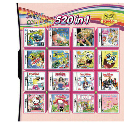 520 in 1 NDS Games Cartridge for  NDS NDSL NDSi 3DS 2DS