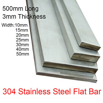 3mm Thick 500mm 304 Stainless Steel Flat Bar Strip Plate Width 10mm 15 20 -60mm