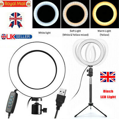 LED Ring Light Studio Photo Video Dimmable Lamp Tripod Stand Selfie Camera UK