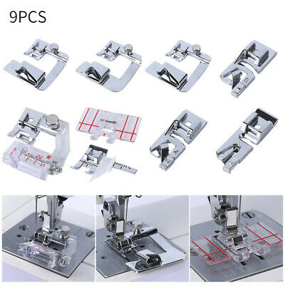 9PC Rolled Hem Pressure Foot Sewing Machine For Singer Brother Low Shank Adapter