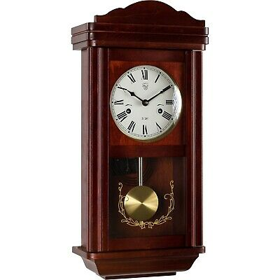 Wall Clock Pendulum Regulator Antique Mechanical Mahagoni Wood Watch Theseus