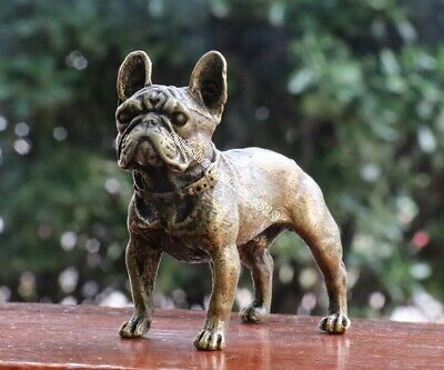 7 CM Chinese Pure Bronze copper Family Animal Pet dog beagle bulldog sculpture