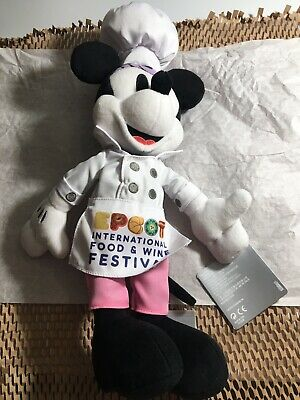 2019 EPCOT Food & Wine Festival Chef Minnie Mouse Plush Doll Brand New Disney