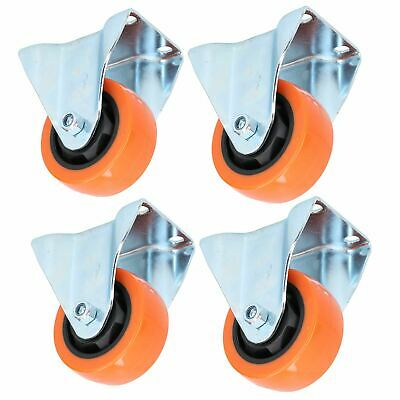 "3"" Fixed PVC Trolley Castor Wheel Roller Bearings 100kg Load Per Wheel 4 Pack"