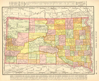 South Dakota state map showing counties. RAND MCNALLY 1906 old antique
