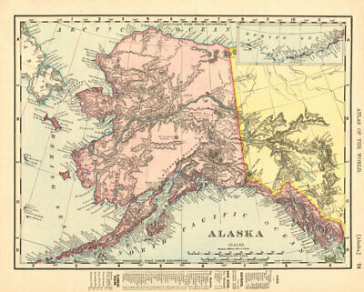 Alaska state map showing boroughs. Pre-Anchorage. RAND MCNALLY 1906 old